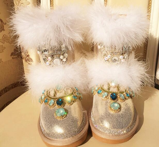 Creative femmes chaussures or plat bottines pour hiver 2018 fourrure décor neige bottes de luxe strass chaussures garder au chaud livraison gratuite