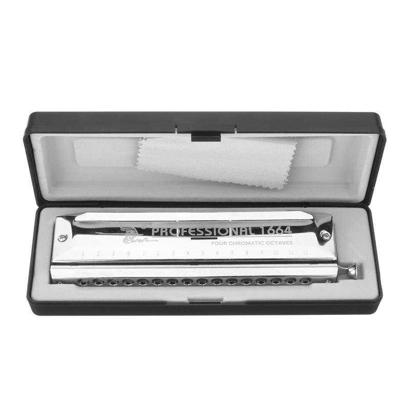 16 Holes 64 Tones Silver Color Laser Chromatic Harmonica Proceeded Square High-end Music Harmonicas Musical Instrument Accessory swan sw1020h 7tj 10 holes 20 tones harmonicas set in gift box gold color high end square shape blues harmonicas diatonic harps