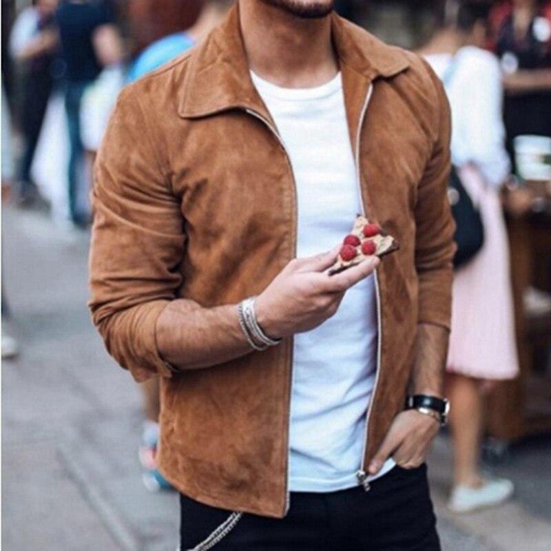 MJARTORIA 2019 New Fashion Men s Suede Leather Jacket Slim Fit Biker Motorcycle Jacket Coat Zipper Innrech Market.com