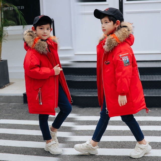 e39e14f157a4 Fashion Winter Children s Down Jackets Parkas colorful fur teenager ...