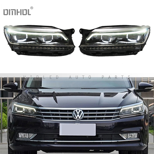 Free Shipping 1 Set HID Hi/Lo Beams Bixenon Headlight Assembly With LED DRLs For Volkswagen VW Passat 2016'+ Car, Plug & Play
