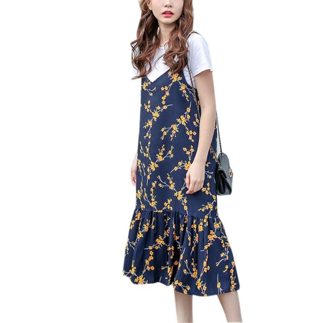 e16c695a7d3 2018 Summer Women Elegant Sexy Sundress Student Fashion Vintage Spaghetti  Strap Chiffon Dress Ladies Floral Printed