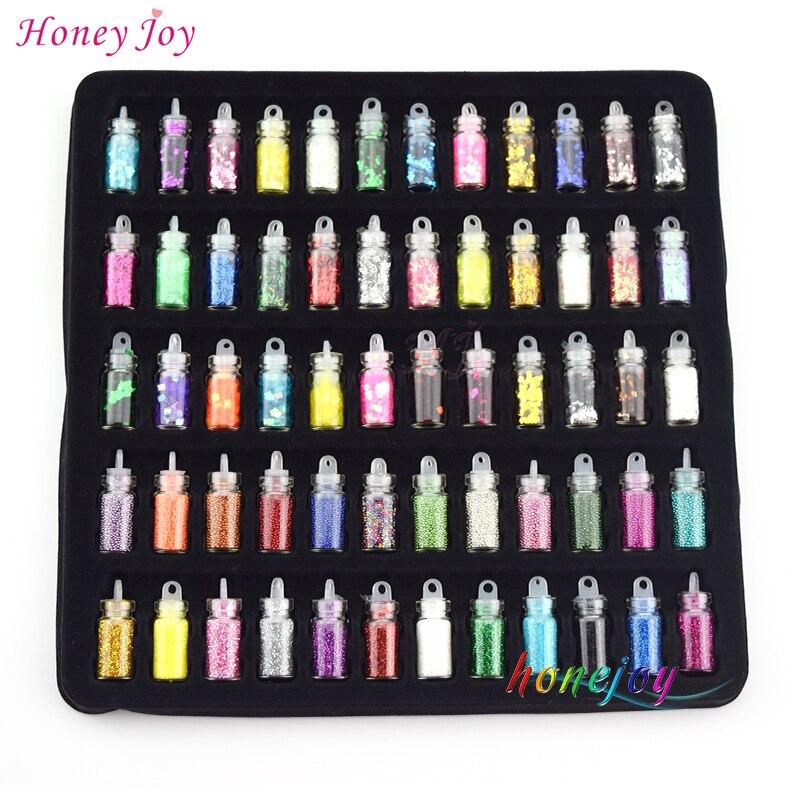 Honey Joy 60bottles / set 3D Nail Art Forskellige dekorationer Glitter Star Hjertformede Sequin Perler Kaviar Rhinestones Manicure Tool