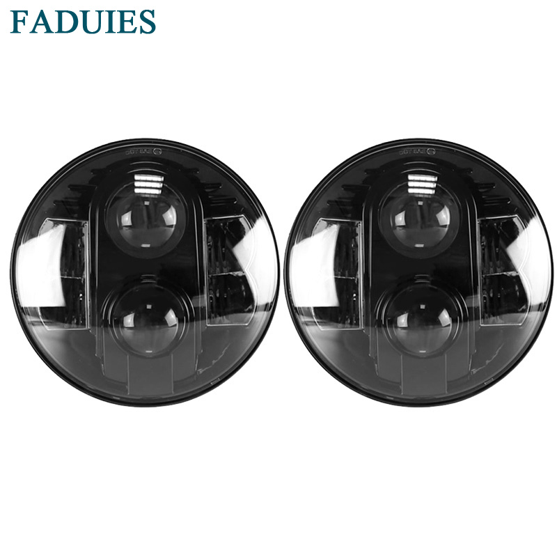 FADUIES 7 Inch 80W Round LED Headlights For Jeep Wrangler JK TJ LJ Hummer H1 H2 Land Rover Defender With Hi/Lo Beam White DRL