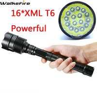 Мощный 16T6 светодиодный фонарик 32000 люмен, 16 * XM-L T6, светодиодный фонарик, лампа для охоты, кемпинга, велоспорта