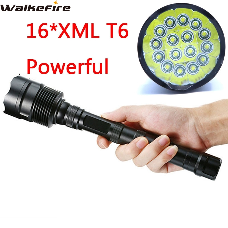 Powerful 32000 Lumens 16T6 LED Flash Light 16*XM-L T6 LED Flashlight Torch Lamp Light For Hunting Camping Cycling