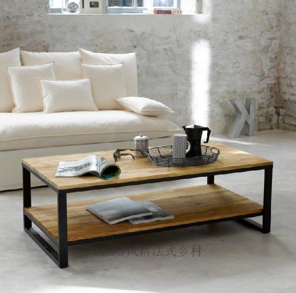 American Iron Loft Nordic Wood Coffee Table Tea Sets Modern