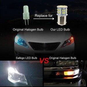Image 4 - Safego 4 stücke 1156 BA15S LED Auto Lampen P21W Blinker Licht 7506 50 SMD 3014 Weiß Lampe 6000 K 12 V rücklichter Bremsleuchten