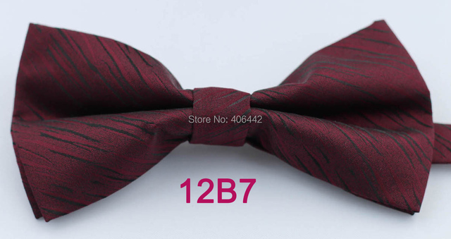 YIBEI Coachella Ties Jacquard Woven Burgundy Bowtie With Black Stripes Bow  Ties Tuxedo Double-deck 23e8cb97e42c