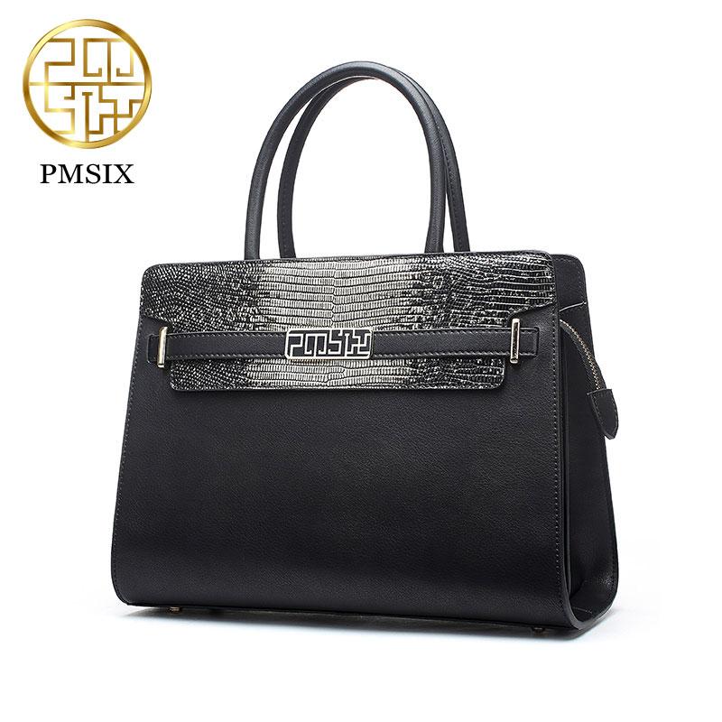 Designer leather handbag Women Pmsix Brand New 2017 Chinese Shoulder bag cowskin leather bag fashion retro Message bag P120076