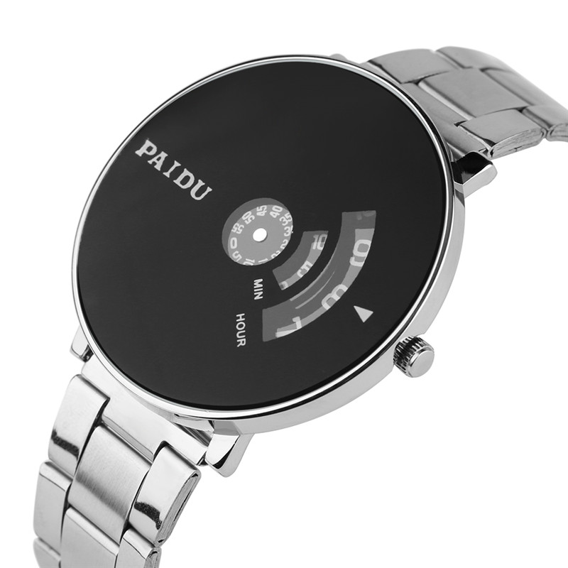все цены на PAIDU Watch Creative Eyes Arc-shaped Display Men Women Hour Clock Full Stainless Steel Unique Turntable Unisex Quartz Wristwatch