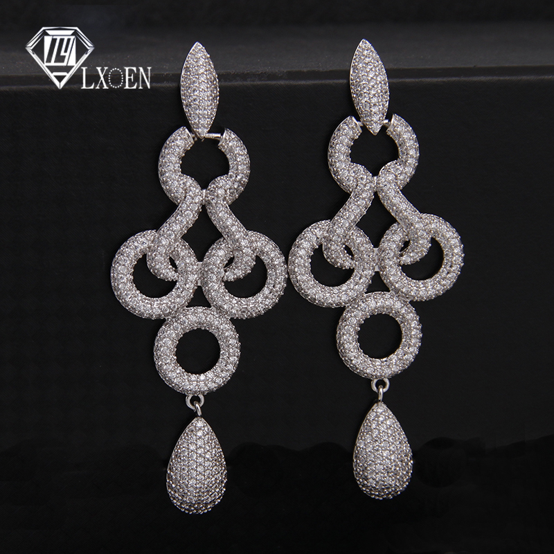 59406145 LXOEN Bohimian Charm Zirconia cúbica pendientes de gota para mujeres de  lujo Multi-capa redonda oro ...