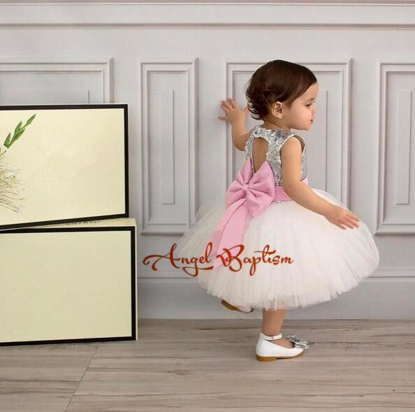 Lovely White tulle flower girl dresses Sequined tutu dress keyhole back baby girl first birthday princess pageant dress with bow цены онлайн