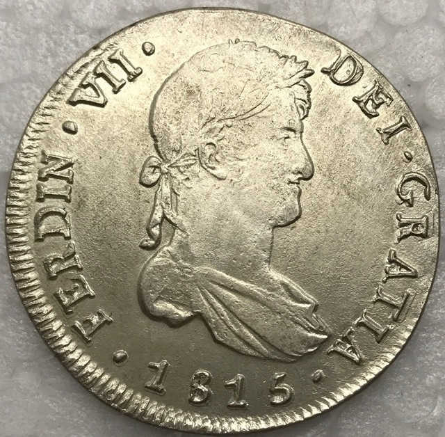 Chile 1815 FJ 8 Reales Fernando VII Hispan 90 Silver Copy Coin