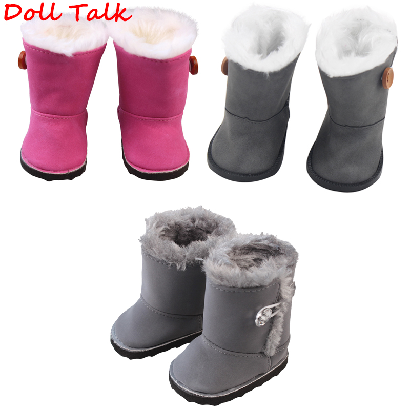 Doll Talk 1 Pair Girl Button Snow Cotton Boots 18 inch American Doll Shoes Keep Warm Cloth Boots For BJD Russian Doll Toy image