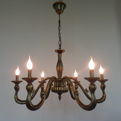 Vintage Bronze Candle Chandelier Pendant Lamp Home Lighting Chandeliers Rustic Country Style 6 Arm 8