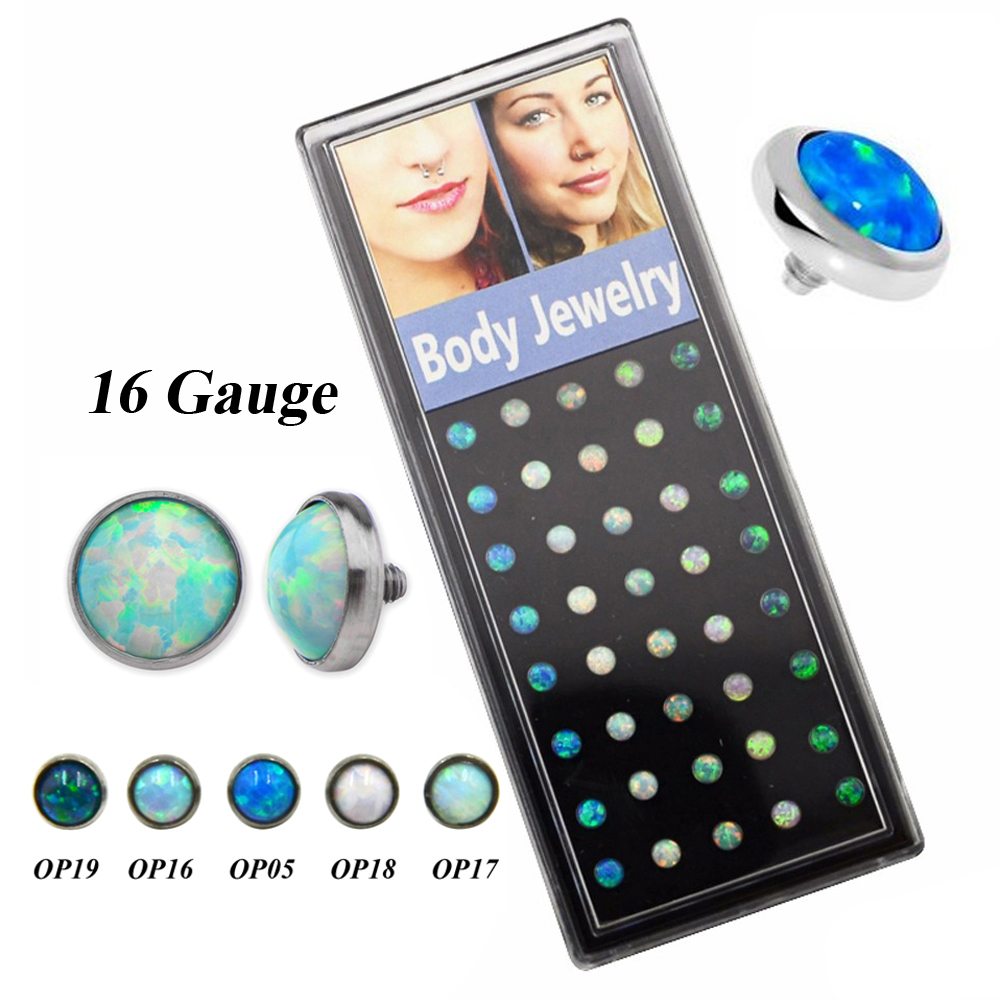 40piece Opal Gem Crystal Dermal Tops G23 Titanium Piercing Top Accessories for Anchor Jewelry Body Skin