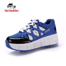 Double Wheel Roller Skate Shoes for Boys Girls Pulley chaussure nmd  Children's yeezy shoes roller shoes sport for kids