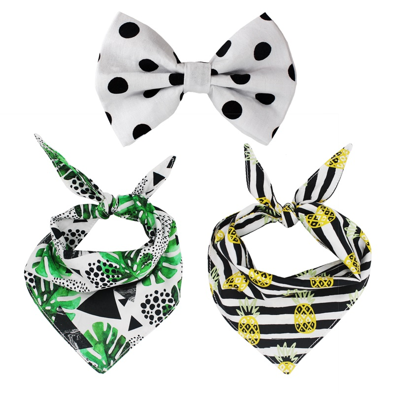 pineapple personalized Dog Bandana Scarf with bow tie for Fall Reversible dog Bandana bow tie Pet