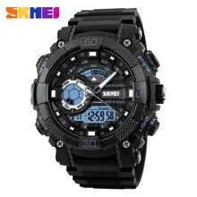 Skmei doble veces reloj digital del deporte de los hombres chrono cronógrafo de cuarzo relojes militar grande del dial led reloj dual display 1228