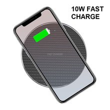 Wireless Charger Qi-Certified 10W Ultra-Slim Fast Charging Pad Compatible iPhone XR/XS/Xs/X/8/8P Galaxy S10 S9/S9+/S8 Note 9/8(China)