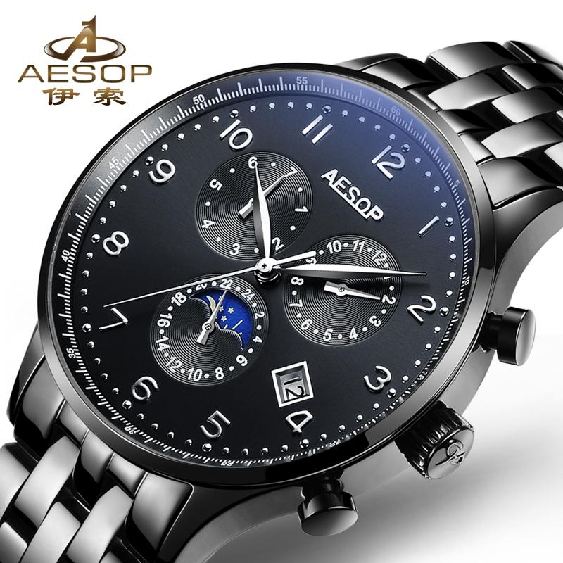 Aesop Watch Men Sapphire Automatic Mechanical Watches Black Sports Man Watch Military Waterproof Male Clock Top Brand Luxury wrist switzerland automatic mechanical men watch waterproof mens watches top brand luxury sapphire military reloj hombre b6036