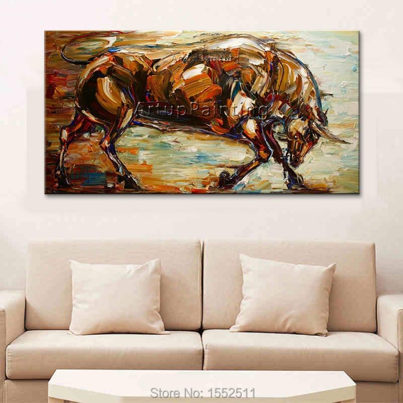 Moderne popkunst dekorative billeder abstrakte dyr tyr olie malerier - Indretning af hjemmet - Foto 5