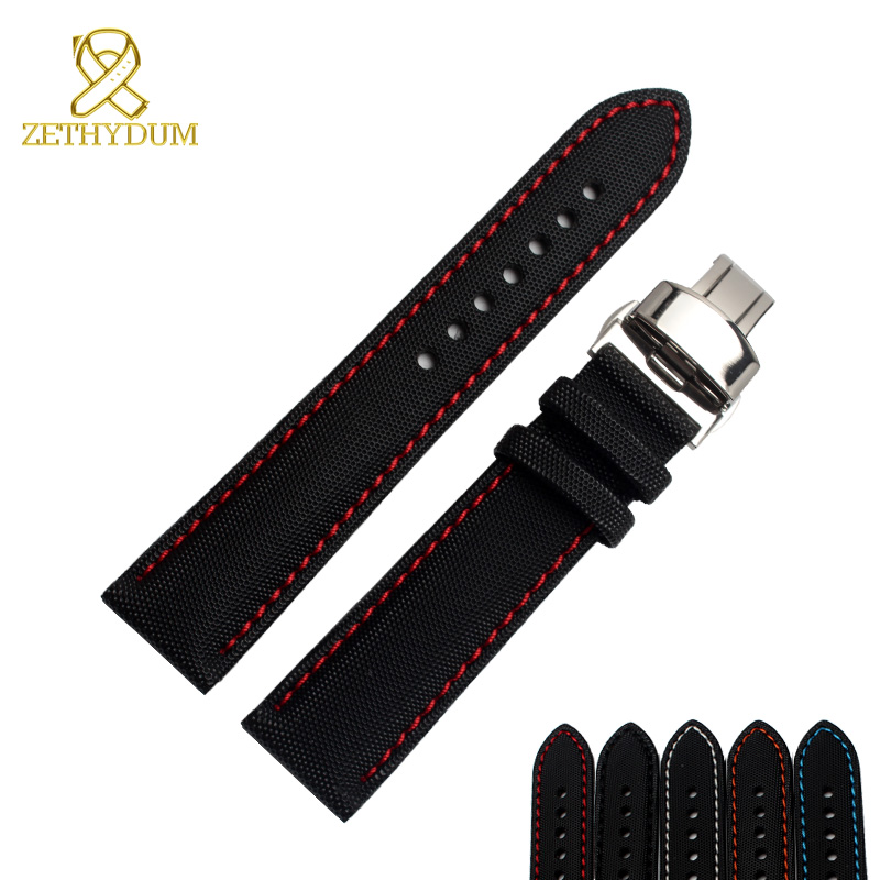 Nylon watch bracelet bottom genuine leather watchband perlon 20 21 22 23mm wristwatches band red stitched watch strap nylon watchband 20mm 22mm watch strap stitched wristwatches band bottom is genuine leather bracelet pin buckle accessories