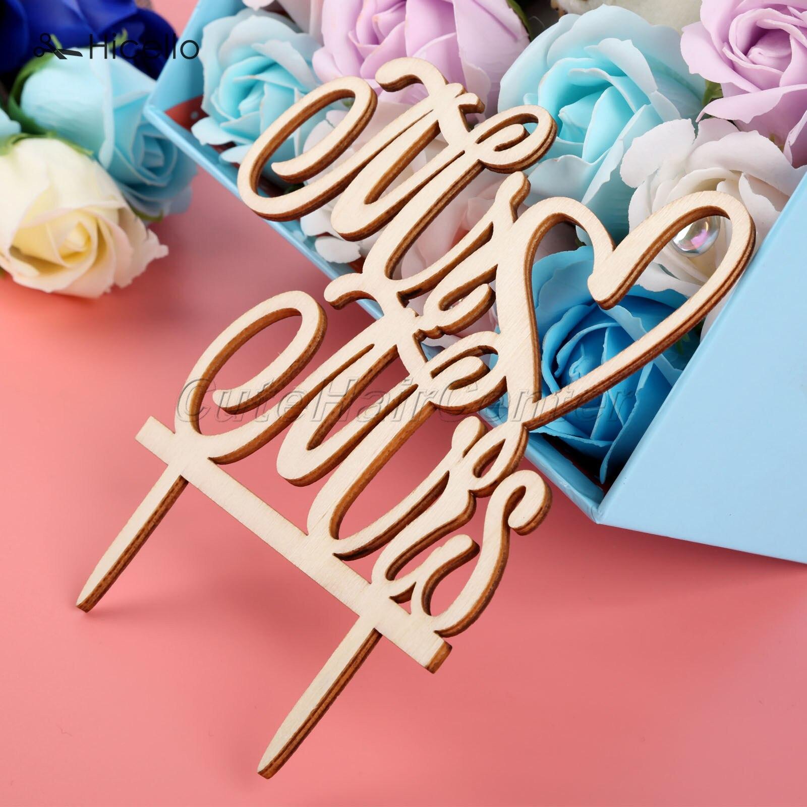 Wood Wedding Cake Topper Mr&Mrs Wooden Cake Insertion Fancy fonts ...