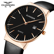montre homme Men Watches Top Brand Luxury GUANQIN Men Ultra Thin Quartz Watch Wristwatch Leather Quartz Watch relogio masculino стоимость