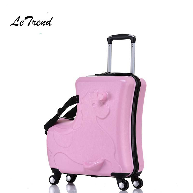 Letrend Children Rolling Luggage Spinner Cute Cartoon Wheels Suitcase Kids Multifunction Cabin Trolley Student Travel Bag creative multifunction rolling luggage spinner men business travel bag aluminum frame suitcase wheels 20 inch cabin trolley