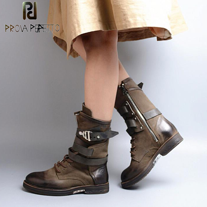 Prova Perfetto Fashion Round Toe Low Heel Mid-calf Boots Feminino Buckle Belt Thick Bottom Genuine Leather Women's Martin Boots prova perfetto red color punk style genuine leather thick bottom woman mid boots solid round toe low heel rivet martin boots
