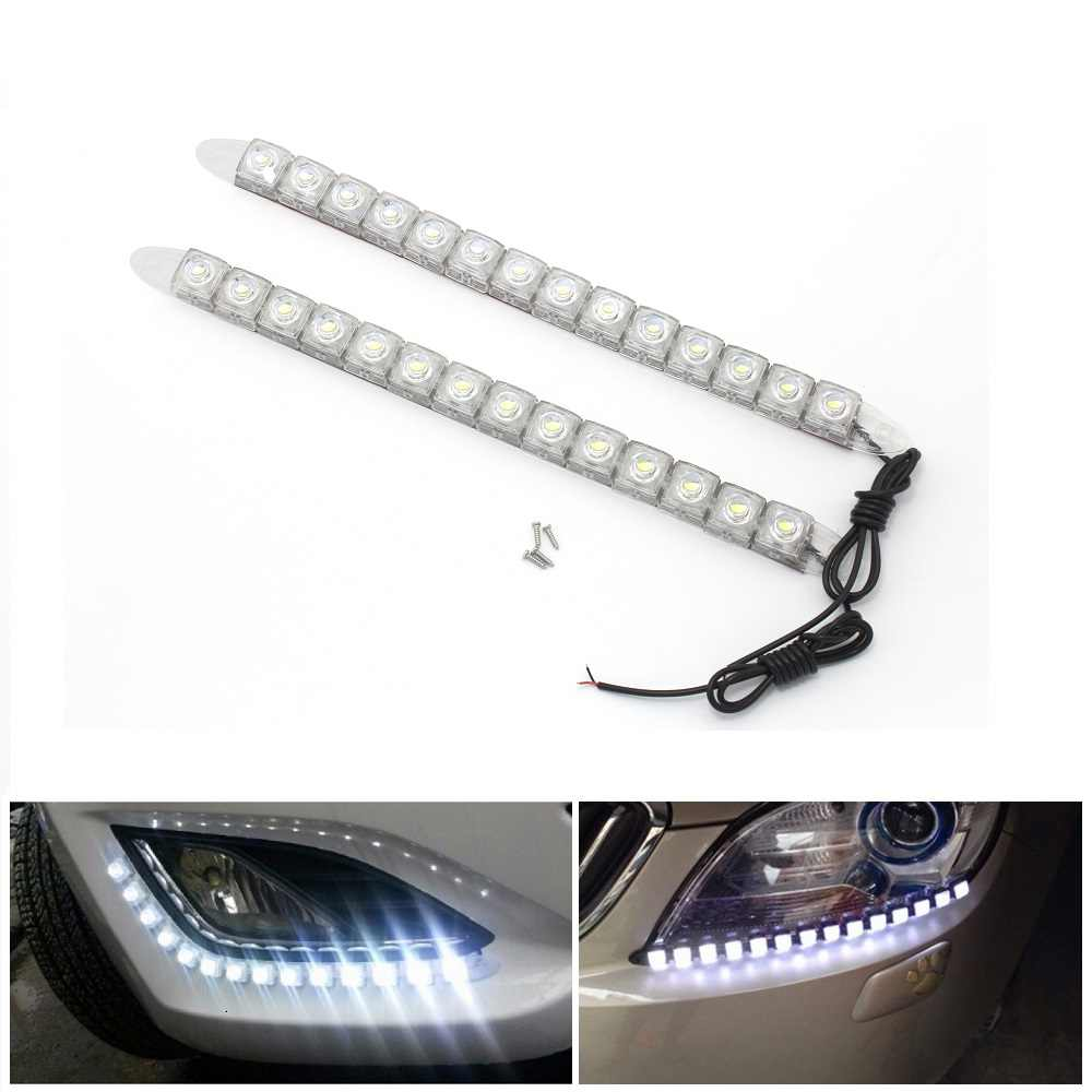 2pcs 12V Car DRL Fog Lamp Flexible Daytime Running Light 6 8 10 12 14 16 18 20 LEDs COB Auto Strip Lights Universal