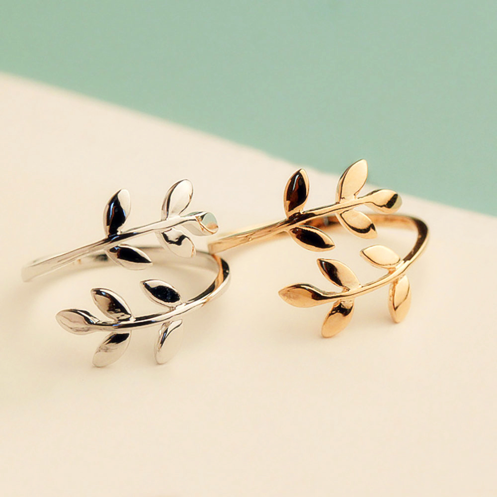 Gold Black Silver Color Olive Tree Branch Leaves Open Ring for Women Girl Wedding Rings Adjustable Knuckle Finger Jewelry Xmas(China)