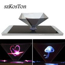 3D Hologram Pyramid Display Projector Video Stand Holder For 3.5 to 6.5 inch Mobile Phone Tablet Holographic Projector Bracket