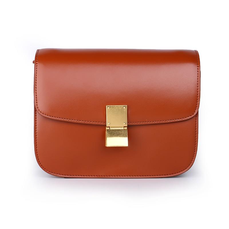 ФОТО Art Glob Genuine Leather Box Handbag Women Famous Brand Luxury Europe Designer Real Leather Flap Shoulder Bag No Logo Printed