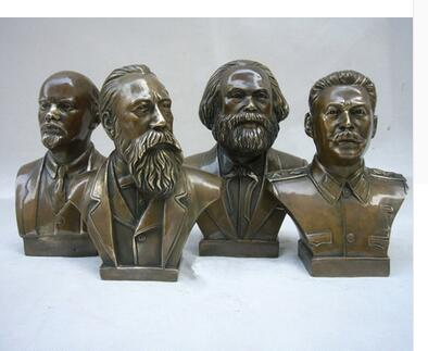 Copper Craft Decorated Old Carved Lenin Statue Stalin Marx Sculpture Engels Memorial Antique Crafts Character Decoration