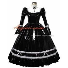 Пикантные горничная Сисси ПВХ платье черный запираемый форма косплэй костюм Индивидуальный заказ