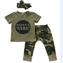 0-2 years old daddy's girl letter camouflage 3 pieces with a headband.