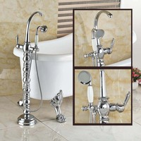 Chrome Finish Floor Standing Mount Bathroom Free Standing Bath Tub Mixer Tap Creative Bathtub Filler