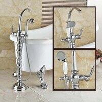 Chrome Finish Floor Standing Mount Bathroom Free Standing Bath Tub Mixer Tap Creative Bathtub Filler