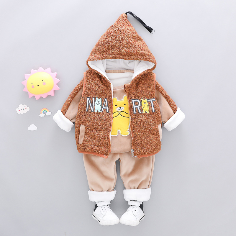 Baby Winter Clothes 3PCS Suit For Toddler Boy Girl Cartoon Letter Kids Hooded Velvet Set Clothing 1 2 3 4 Years baby girl boy clothing sets 2018 cartoon pattern autumn winter warm toddler vest shirt pants 1 2 3 4 years kid clothing suit