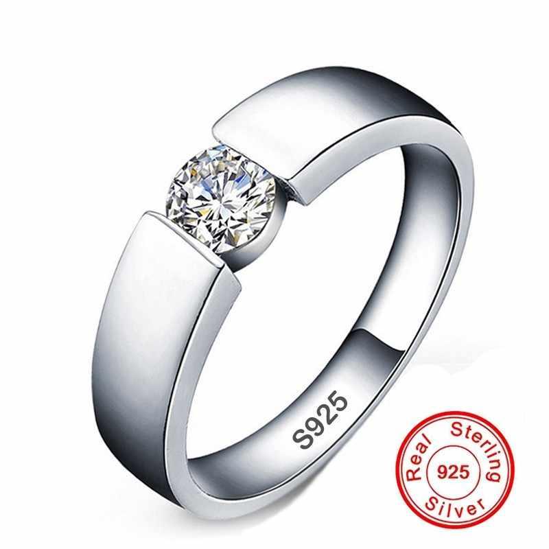 คลาสสิก 100% original Solid 925 แหวนเงินชุด 6mm 1ct CZ SONA แหวนหมั้นเพชรแหวนเครื่องประดับแหวนผู้หญิงผู้ชาย