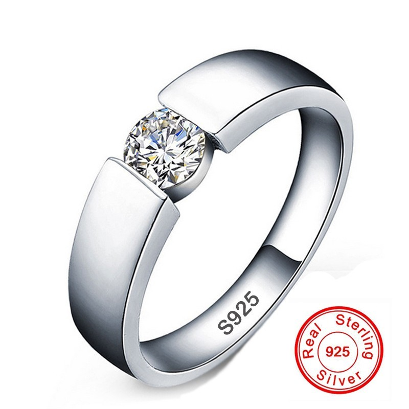 Classic 100% original Solid 925 Silver Rings Set 6mm 1ct CZ SONA Diamond Engagement Rings Jewelry Wedding Rings for Women MenClassic 100% original Solid 925 Silver Rings Set 6mm 1ct CZ SONA Diamond Engagement Rings Jewelry Wedding Rings for Women Men