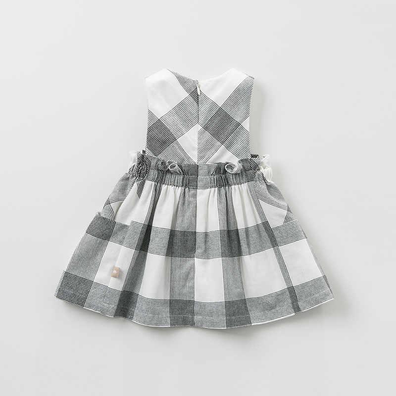 DB10481 デイブベラ女の子ドレスノースリーブ春ドレスキッズガールズドレス子供の誕生日パーティーブティックチェック柄ドレス
