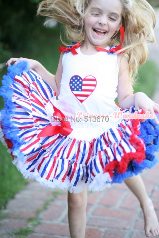 4th July America Stripe Style Pettiskirt USA Flag Heart White Tank Top Set 1-8Y MAMG1144 4th july america flag style stripe pettiskirt white ruffle tank top 2pc set 1 8year mamg1143