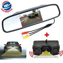3in1 видео Парковочные системы Сенсор резервный радиолокатор с заднего вида Камера + 4.3 дюймов ЖК-дисплей автомобиля Зеркало заднего вида Мониторы видео парковка
