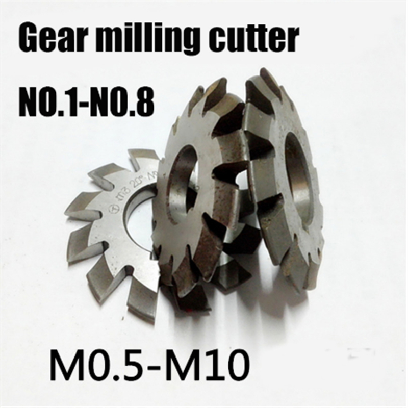 8PCS NO.1 NO.8 M0.4 M0.5 M0.6 M0.7 M0.8 M1 M1.25 M1.5 M2 M3 M4 Modulus PA20 Degrees HSS Gear Milling cutter Gear cutting tools-in Milling Cutter from Tools