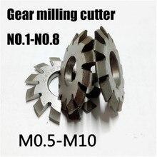 8PCS NO.1-NO.8 M0.4 M0.5 M0.6 M0.7 M0.8 M1 M1.25 M1.5 M2 M3 M4 PA20 Graus HSS Engrenagem Modulus fresa ferramentas de corte de Engrenagens