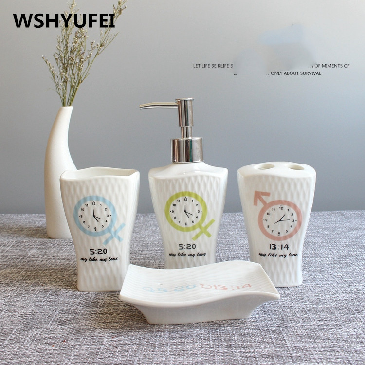 4pcs/lot white Anaglyph porcelain ceramic sanitary ware bathroom articles wedding wash gargle suit toothpaste dispenser